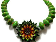 Pendant Necklace, Green, Brown, Yellow and Orange Natural Stone, Jewelry, Bib Statement Necklace, Beaded Jewelry on Etsy, $60.00