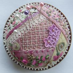 :) Pin cushion in crazy quilting