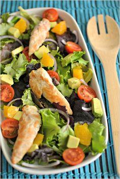 Salada de frango com laranja e abacate - http://gostinhos.com/salada-de-frango-com-laranja-e-abacate/