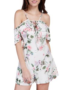 #AdoreWe #VIPme Jumpsuits & Rompers - Wink Gal Summer Floral Cold Shoulder Lace Up Boho Romper - AdoreWe.com
