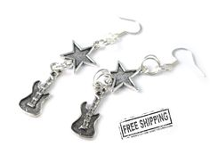 Guitar earrings - punk rock jewelry - rock n roll jewelry - rockabilly jewelry  girls rock star party glam rock star costume - music jewelry by TocsinDesigns on Etsy