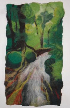 Wet felted wall art landscape rainforest picture with needle felting FREE POSTAGE. $110.00, via Etsy.