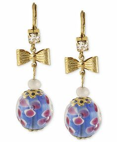 Betsey Johnson Antique Gold-Tone Blue Flower Bead Drop Earrings - Fashion Jewelry - Jewelry & Watches - Macy's