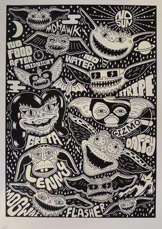 Cool Art: Print Club London presents Summer Screen' Art Exhibition at Somerset House - 'Gremlins by Serge Siedltiz Woodcut Art, Linocut Prints, Poster Prints, Art Prints, Gremlins, Tattoo Samples, Movie Co, Pop Culture Art, Pokemon