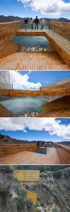 in provide amazing views over the Quilotoa Crater and its Lake, at an altitude of 3974 meters Architecture Images, Amazing Architecture, Landscape Architecture, Interior Architecture, Landscape Structure, Landscape Elements, Landscape Design, Timber Buildings, Modern Buildings