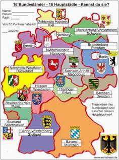 16 Bundesländer 16 Hauptstädte 16 federal states of Germany German Grammar, German Words, Capital One Credit Card, Design Your Own Poster, German Language Learning, Learn German, Germany Travel, Okinawa, Teaching