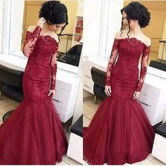 2017 Mermaid Evening Dress Sexy Burgundy Off Shoulder Lace Applique Sheer Long Sleeve Evening Prom Gowns Robe De Soiree