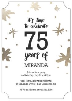 102 Best 75th Birthday Invitations Images In 2019