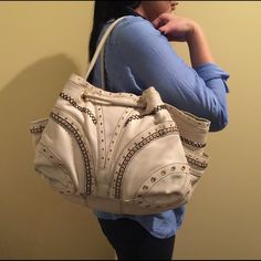 ✨Gently used! Cole Haan Satchel in White Large white satchel with cute blue interior. Previously loved, but still has more use to it! Cole Haan Bags Shoulder Bags