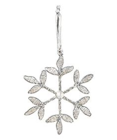 Loving this Silver Glass Clover-Tip Snowflake Ornament on #zulily! #zulilyfinds