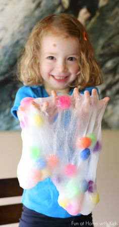 Recipe for an ultra fun and stretchy Polka Dot Slime! Fun at Home with Kids