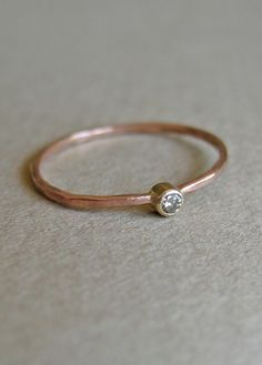Chocolate Diamond and 14k Rose Gold Ring by kateszabone on Etsy