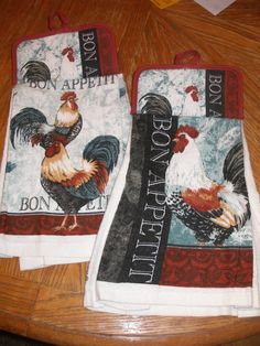 Set of Two Coordinating French Rooster Themed Pot Holder Topped Kitchen Towel. $10.00, via Etsy.
