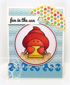 Rachel Parys: Knee Deep In Paper: 2 Cute Ink Challenge - 4/10/16.  (2 Cute digi: Hermit the Crab).  (Pin#1: 2 Cute Ink.  Pin+: Sea Life/ Water Life).