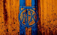 Download wallpapers 4k, FC Aalesund, grunge, Eliteserien, art, soccer, football club, Norway, Aalesund, logo, stone texture, Aalesund FC