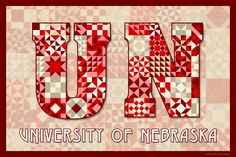 The Quilted University of Nebraska.  Susan Davis, owner of Olde American Antiques and American Quilt Blocks, has created a series of original quilt block designs for universities and colleges in the United States.   Each of these designs is unique with a distinct color combination using the school colors and a matching border to enhance the overall pattern. These are the first quilt block designs created specifically for universities and colleges and are new to the quilting hobby.