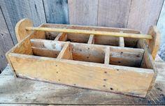 Primitive Wood Tool Caddy Vintage Handmade Wall Shelf Cubbies Display Tote