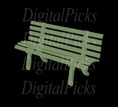 Green Park Bench Digital Clip Art PNG by DigitalPicks on Etsy, $1.69