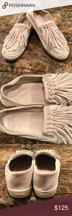 Tory Burch sneakers, Sz 8M So cute and fun! Fringe design. Genuine leather suede upper, rubber sole. No stains on leather. Color: bone Sz 8M Tory Burch Shoes Sneakers