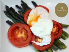 meg-made: poached eggs with asparagus and tomatoes. 5:2 Fast Diet recipes