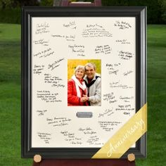 Personalized Anniversary Party Signature Frame (JDS Engravables GC909) | Buy at Wedding Favors Unlimited (http://www.weddingfavorsunlimited.com/personalized_anniversary_party_signature_frame.html).
