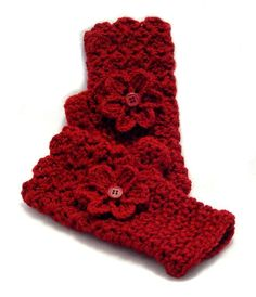 Ruby Red Crochet Fingerless Gloves with Flower, Red Texting Gloves, Cranberry Red Wristwarmers, Crochet Mittens, Crochet Gloves, Crochet Slippers, Crochet Scarves, Knit Crochet, Crochet Pattern, Crochet Wrist Warmers, Hand Warmers, Crochet Crafts
