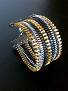Rainbow Zipper Bracelet, ReborneJewelry, Etsy