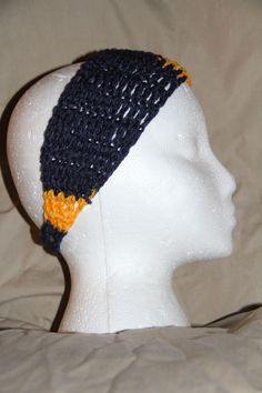 Crochet Unisex Teen/Adult headband earwarmer fits most Team Colors NAVY GOLD #homemade #earwamerheadband