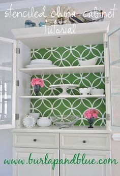 Burlap_and_Blue_Stencilled_Cabinet- could be useful-- upcycle china cupboard