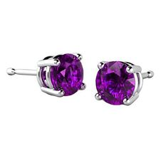 2.00 Carat Round Sterling Silver Cubic Zirconia Synthetic Amethyst Stud Earrings. Price $19.99. For Details: http://www.silverjewelry.com/2-00-carat-round-sterling-silver-cubic-zirconia-synthetic-amethyst-stud-earrings/