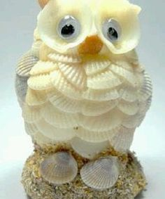 Find this Pin and more on DIY: Conchas, piedras y otros elementos naturales. An owl made of seashells Seashell Painting, Seashell Art, Seashell Crafts, Shell Animals, Seashell Projects, Shell Decorations, Seashell Ornaments, Sea Crafts, Sea Glass Art