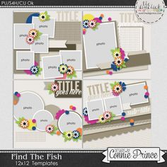 Find The Fish - 12x12 Templates (CU Ok) by Connie Prince. Includes 4 12x12 templates, saved as layered PSD & TIF files as well as individual PNG files. Also, includes layered .page files for use with SBC+3, SBC 4 & Panstoria Artisan software. Scrap for hire / others ok. Commercial Use Ok, NO credit required.