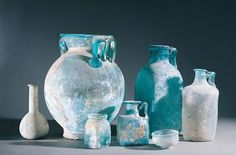 Italy, Campania, Pompeii, Glass vases Italy, Naples, Museo Archeologico Nazionale (Archaeological Museum), Roman art