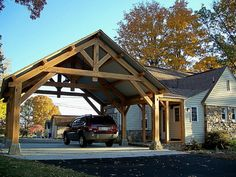 Timber Framed Porte-Cochere with breezeway - Timber Frames