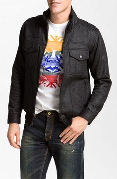 Kane & Unke Trim Fit Coated Fleece Moto Jacket | Nordstrom