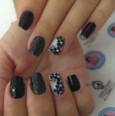 Instagram Post by Tamiris Godoy (@tatagodooy) | WEBSTA - Instagram Analytics Instagram Posts, Nail Black, Flower Nails, Nail Ideas, Salons, Nail Designs, Nail Art, Leopard Nails, Black Nails