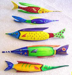 Tropical Fish Carved from Queen Palm Seed Pod  Over 2 FT Long Orange with Green Head on Etsy, $40.00