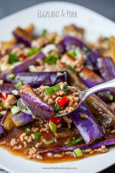 A savory Chinese eggplant stir fry with pork is great to serve with rice. This healthier eggplant & pork recipe only takes 20 minutes! Spicy Recipes, Pork Recipes, Asian Recipes, Vegetarian Recipes, Cooking Recipes, Healthy Recipes, Ethnic Recipes, Asian Foods, Egg Recipes