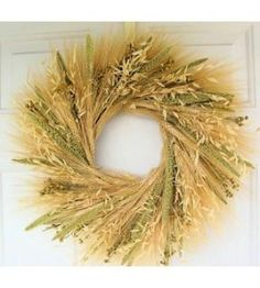 This Mixed Grain Wheat Wreath is a natural beauty and makes a huge statement in your home decor. A perfect living room accent for farmhouse, country, Americana, or beach themed decorating.  - DriedDecor.com #homedecor #driedwheat #wreaths #wreathsforsale #americana #summerdecor