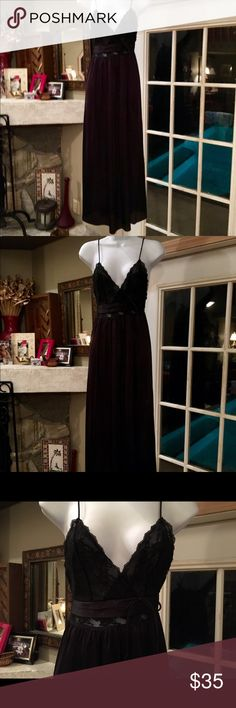 VINTAGE GILEAD LONG BLACK W BLACK LACE NIGHTGOWN BEAUTIFUL BLACK VINTAGE GOWN IN EXCELLENT CONDITION  % NYLON  MADE IN THE U.S.A. GILEAD Intimates & Sleepwear Chemises & Slips