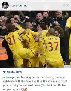 -v- Aston Villa 17 January 2015 when Borini and Lambert both scored