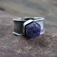 rough sapphire, sapphire ring, rough ring, raw ring, statement ring, adjustable