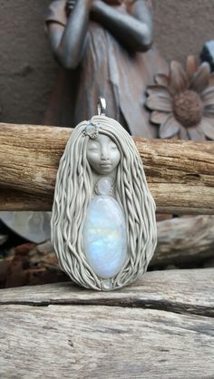 Moonstone Freya crystal clay goddess pendant handcrafted by Wakee's Wares on facebook ☺✌