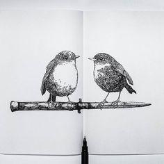 Birds. . #ariarosso #moleskineart #moleskinesketchbook #illustration #sketch #pendrawing #moleskine