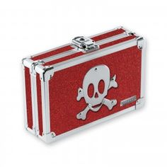 Vaultz Locking Pencil Box - Ruby Bling Skull - - Product Description: Lock your personal, private, and valuable items up in style. The Vaultz™ Locking Pen Storage Boxes, Storage Chest, Skull Purse, Pens And Pencils, Splash Page, Pencil Boxes, Black Necklace, Consumer Products, Toy Chest