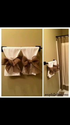 Guest Bathroom Makeover Part 2 Guest towels More Related Post 17 Small Bathroom Ideas Preiswertes Badezimmer DIY Over 25 lighting ideas for the bathroom to illumin. Bathroom Towel Decor, Bathroom Ideas, Burlap Bathroom Decor, Bathroom Organization, Folding Bathroom Towels, Brown Bathroom Decor, Restroom Ideas, Bathroom Hacks, Bathroom Essentials