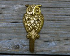 Vintage Brass Owl Wall Hook Solid Heavy by RevolutionMercantile