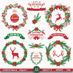 Christmas Clipart  CHRISTMAS WREATH CLIPART  Vintage by SAClipArt