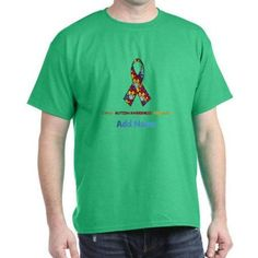 Cafepress Personalized Autism Support Dark T-Shirt, Men's, Size: Large, Green