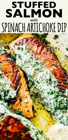 Stuffed Salmon with Spinach and Artichoke Dip – Easy and quick to make, absolutely incredible pan-seared salmon fillets stuffed with a deliciously creamy spinach and artichoke dip. Delicious Salmon Recipes, Seared Salmon Recipes, Best Seafood Recipes, Easy Salmon Recipes, Healthiest Seafood, Pan Seared Salmon, Healthy Recipes, Salmon Spinach Recipes, Fish Recipes